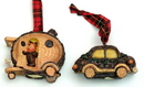 IWGAC 0197-242977 Rustic Log Car Ornaments Set of Two