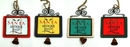 IWGAC 0197-252454 WoodMetal Sign Ornaments with Bell Set of Four