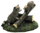 IWGAC 049-11651 Resin Raccoons on Log