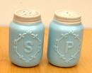 IWGAC 049-15656 Blue Ceramic Mason Jar S/P