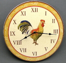 IWGAC 049-33024 Wood Rooster Wall Clock
