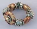 IWGAC 049-40132 Silver Tone & Brown Beads Stretch Bracelet