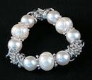 IWGAC 049-40154 Silver Tone & White Beads Stretch Bracelet