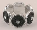 IWGAC 049-40336 Silver & Black Tone Stretch Bracelet
