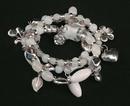 IWGAC 049-40499 Silver Tone & White Beads Stretch Bracelet