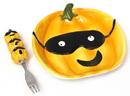 IWGAC 049-60014 Ceramic Pumpkin Plate with Fork Set