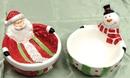 IWGAC 049-64956 Ceramic Santa & Snowman bowls Set of 2