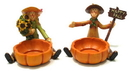 IWGAC 049-89114 Scarecrow Harvest Candleholders Set of 2