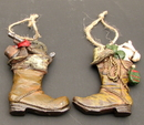 IWGAC 049-96203 Resin Cowboy Boot Ornaments Set/2