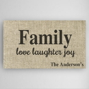 JDS CA0098 Love, Laughter & Joy Family Canvas Sign
