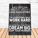 JDS CA761 Family Love Rules Canvas Sign