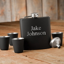 JDS GC1244 Matte Black Flask & Shot Glass Gift Box Set