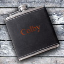 JDS GC1329 Personalized 6oz Suede Flask with Orange Lettering