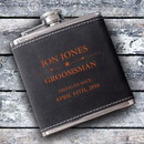 JDS GC1428 Personalized Groomsmen 6 oz Suede Flask with Orange Lettering