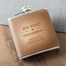 JDS GC1429 Groomsmen Tan Hide Stitched Flask