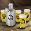 JDS GC1437 Personalized Stainless Steel Beer Growler with Pint Glass Set