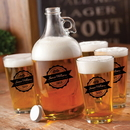 JDS GC1488 Personalized Glass Beer Growler and Pint Glass Set