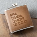 JDS GC1537 The Man. The Myth. The Legend. Tan Hide Stitched Flask