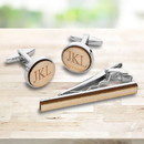 JDS GC1919 Bamboo Cufflink & Tie Clip Set for Men