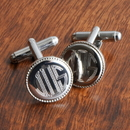 JDS Personalized Silver Round Beaded Cufflinks