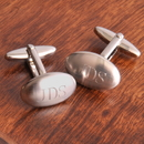 JDS Personalized Oval Brushed Cufflinks