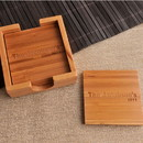 JDS GC829 Custom Bamboo Coasters - Set of 4 with Coaster Box