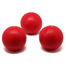 "Jeco CBZ-019 3"" Red Ball Candles (6pc/Box)"