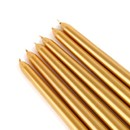 "Jeco CEZ-107 12"" Metallic Bronze Gold Taper Candles (1 Dozen)"