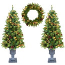 Jeco CH-CT80 3-Piece 4Ft. Christmas Tree And Holiday Wreath Set