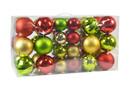 Jeco CHD-TA152 40Pk Christmas Ornament- Red/Gold/Green