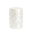 "Jeco CPZ-067 3 x 4"" White Scroll Pillar Candle"