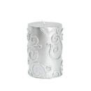 "Jeco CPZ-068 3 x 4"" Silver Scroll Pillar Candle"
