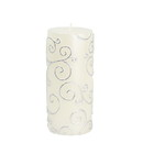 "Jeco CPZ-069 3 x 6"" White Scroll Pillar Candle"