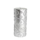 "Jeco CPZ-070 3 x 6"" Silver Scroll Pillar Candle"