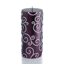 "Jeco CPZ-110_12 3 x 6"" Purple Scroll Pillar Candle (12pcs/Case) Bulk"