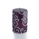 "Jeco CPZ-111 3 x 4"" Purple Scroll Pillar Candle"