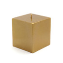 "Jeco CPZ-137 3 x 3"" Metallic Bronze Gold Square Pillar Candles"