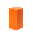 "Jeco CPZ-141 3 x 6"" Orange Square Pillar Candle"