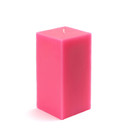 "Jeco CPZ-143 3 x 6"" Hot Pink Square Pillar Candle"