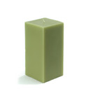 "Jeco CPZ-144 3 x 6"" Sage Green Square Pillar Candle"