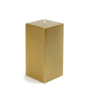 "Jeco CPZ-150 3 x 6"" Metallic Bronze Gold Square Pillar Candle"