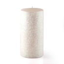 "Jeco CPZ-167 3 x 6"" Metallic White Glitter Pillar Candle"