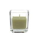 Jeco CVZ-039 Sage Green Square Glass Votive Candles (12pc/Box)