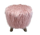 Jeco F-AF004 Pink Faux Fur Stool W/Natural Legs