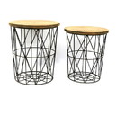 Jeco F-AT007 Round Metal Frame Decor Stand (Set Of 2)