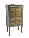 Jeco F-SF007 Weathered 4-Tiered Cabinet With Tan Drawers