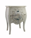 Jeco F-SF010 White Wooden White End Table With Flower