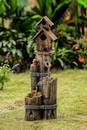 Jeco FCL141 Tiered Wood Finish Water Fountain With Birdhouse