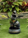 Jeco FCL173 Metal Pot In Pot Fountain With Flower Pot