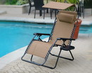 Jeco GC12_2 Set Of 2 Oversized Zero Gravity Chair With Sunshade And Drink Tray - Tan